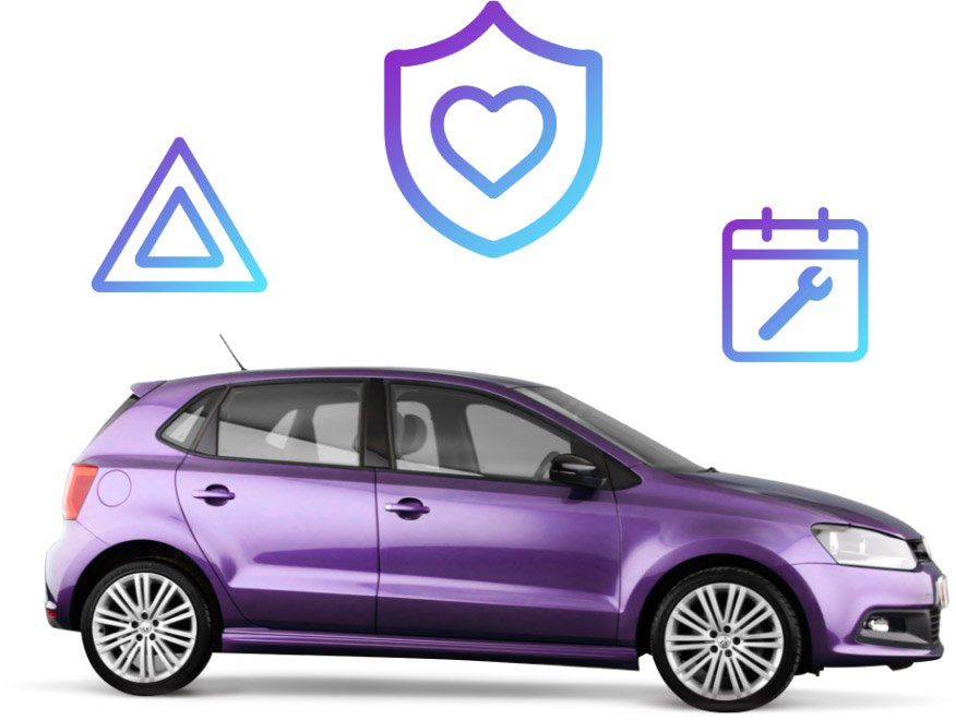Purple Car with floating icons behind