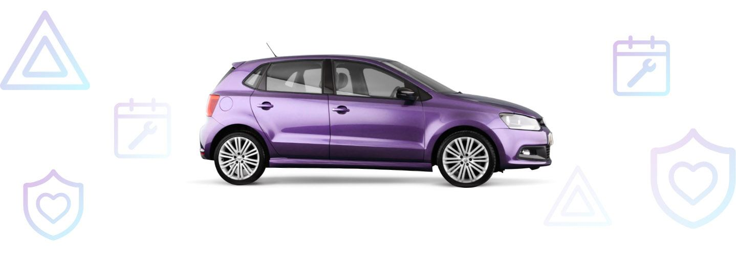 purple car with cinchCare icons